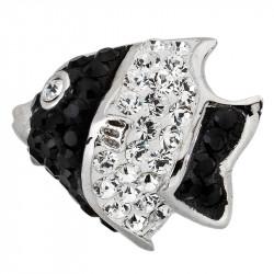 Amore Baci Crno Bela Riba srebrni privezak sa swarovski kristalom