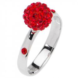 Amore Baci Kuglica srebrni prsten sa crvenim swarovski kristalom 53 mm