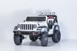Big Jeep 4x4 na akumulator sa kožnim sedištem i mekim gumama - Beli