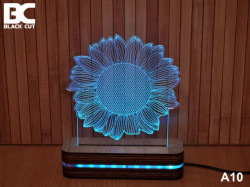 Black Cut 3D Lampa jednobojna - Cvet ( A10 )