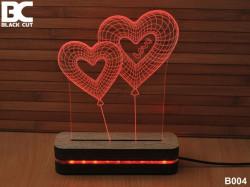 Black Cut 3D Lampa sa 9 različitih boja i daljinskim upravljačem - Dva srca ( B004 )