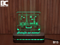 Black Cut 3D Lampa sa 9 različitih boja i daljinskim upravljačem - Putujte sa nama ( B13 )