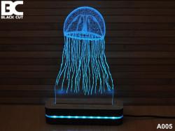 Black Cut 3D Lampa sa 9 različitih boja i daljinskim upravljačem - Meduza ( A005 )