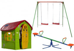 Dečiji komplet za dvorište ( Fun Fun ) Ljuljaška + Kućica + Klackalica