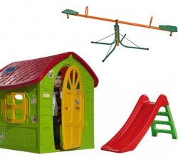 Dečiji komplet za dvorište ( SET 3 G ) Kućica + Tobogan + Klackalica