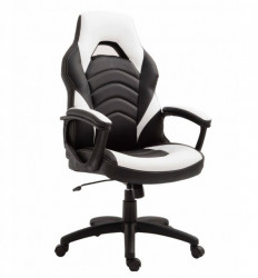 Gejmerska stolica 2326 od eko kože Crno-bela
