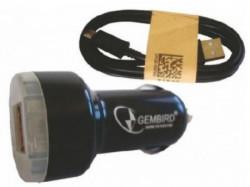 Gembird black auto punjac za telefone i tablete 5v 2.1A+1A dual USB with light + micro1M(149) C04 *