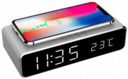 Gembird digitalni sat + alarm sa bezicnim punjenjem telefona, Silver DAC-WPC-01-S