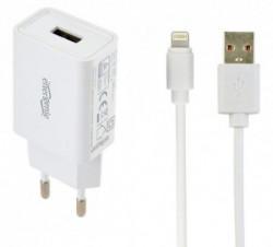 Gembird punjac za telefone i tablete iPhone/iPad 5V/2.1A USB +8-pin USB kabl 1M beli ( EG-UCSET-8P-MX )