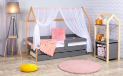 Krevet kućica sa fiokom i dušekom 160x80 DOMEK - SIVA (bukva) ( 7728 )