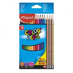 Maped drvene bojice color peps 12+3 grafitne ( 55728 )