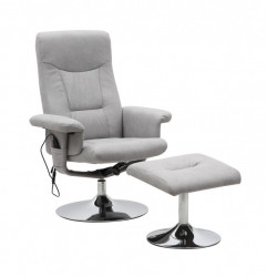 Masažna fotelja sa 5 funkcija i tabureom - Siva