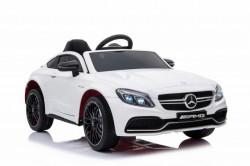 Mercedes C63 AMG Licencirani auto za decu na akumulator sa kožnim sedištem i mekim gumama - Beli