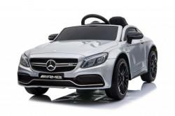 Mercedes C63 AMG Licencirani auto za decu na akumulator sa kožnim sedištem i mekim gumama - Sivi