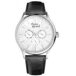 Muški Pierre Ricaud Chronograph Beli Srebrni Elegantni Ručni Sat Sa Crnim Kožnim Kaišem