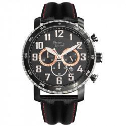 Muški Pierre Ricaud Chronograph Crni Sportski Ručni Sat Sa Crveno Crnim Kožnim Kaišem