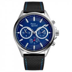 Muški Pierre Ricaud Quartz Multifunction Plavi Srebrni Sportsko-Elegantni Ručni Sat Sa Crnim Kožnim Kaišem