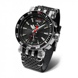 Muški Vostok Europe Energia 2 Automatik Crni Srebrni Chronograph Elegantni Ručni Sat Sa Crnim Kožnim Kaišem