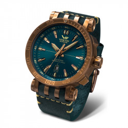 Muški Vostok Europe Energia 2 Automatik Plavo Roze Zlatni Elegantni ručni sat sa plavim kožnim kaišem