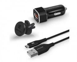 Promate AutoGear-QC3 USB-C kabl punjač za automobil crni