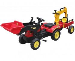 Traktor 09 na pedale sa prikolicom + prednja i zadnja kašika - Crveni