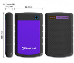 "Transcend TS1TSJ25H3P External HDD 1TB, USB 3.0, 2.5"", Black/Purple"