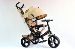 Tricikl Guralica 417 Comfort sa podesivim naslonom i tendom od lanenog platna - Bež