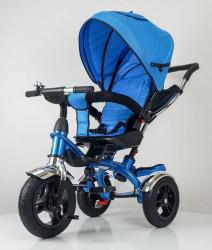 Tricikl Guralica Playtime AM 408 LUX sa rotirajucim sedistem Plavi - mekano sedište - gume na naduvavanje