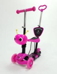 Trotinet Mrav 5u1 za decu sa sedištem i svetlećim točkovima model 652/1 - Pink