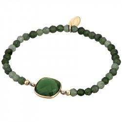 Ženska Lotus Silver Rainbow srebrna Narukvica Zelene Perle
