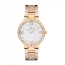 Ženski Bigotti beli zlatni elegantni ručni sat sa roze zlatnim metalnim kaišem