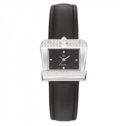 Ženski Girl Only Kvadratni Modni Crni ručni sat sa crnim kožnim kaišem