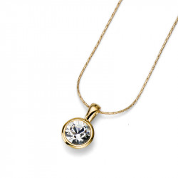 Ženski Oliver Weber Simple Gold Crystal Zlatni Lančić sa swarovski belim kristalnim priveskom