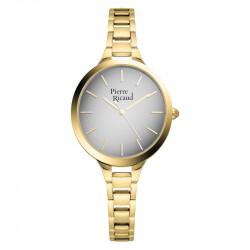 Ženski Pierre Ricaud Quartz Index Sivi Zlatni Elegantni Ručni Sat Sa Zlatnim Metalnim Kaišem