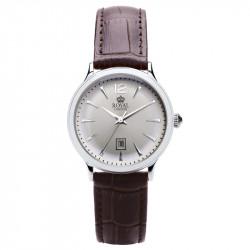 Ženski Royal London Iconic Srebrni Elegantni ručni sat sa braon kožnim kaišem