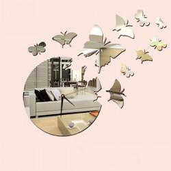 Akrilni zidni sat srebrni leptiri ( 13G005S )