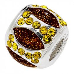 Amore Baci Glamour Pave Žuti srebrni privezak sa swarovski kristalom za narukvicu