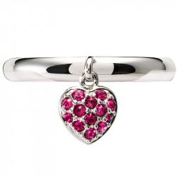 Amore Baci Srce srebrni prsten sa rozim swarovski kristalom 57 mm