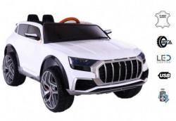 Automobil 257 na akumulator sa kožnim sedištem i mekim gumama - Beli