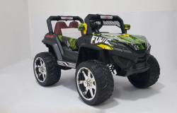 Bagi 1 na akumulator 4x4 sa kožnim sedištima i mekim gumama + mod za ljuljanje - Zeleni