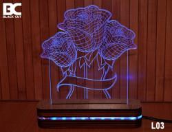 Black Cut 3D Lampa sa 9 različitih boja i daljinskim upravljačem - Ruže ( L03 )