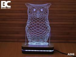 Black Cut 3D Lampa sa 9 različitih boja i daljinskim upravljačem - Sova ( A008 )
