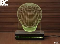 Black Cut 3D Lampa sa 9 različitih boja i daljinskim upravljačem - Sijalica ( B007 )