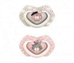 Canpol babies silikonska varalica 6-18m bonjour paris 2 kom 22/648 pink ( 22/648_pin )