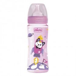 Chicco WB plastična flašica 330ml, silikon, roze ( A048493 )