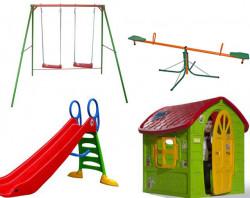 Dečiji komplet za dvorište ( SET 2 G ) Ljuljaška + Kućica + Tobogan + klackalica