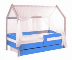 Krevet kućica sa fiokom i dušekom 160x80 DOMEK - SVETLO PLAVA (bukva) ( 7727 )