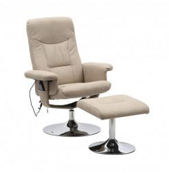 Masažna fotelja sa 5 funkcija i tabureom - Bež
