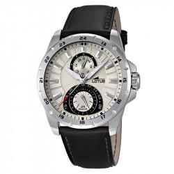 Muški Lotus Multifuncion Bež Sportski ručni sat sa crnim kožnim kaišem i 24 koronom