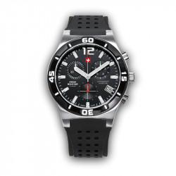 Muški Swiss Military Chrono Quartz Chronograph Crni Srebrni Sportski Ručni Sat Sa Crnim Gumenim Kaišem